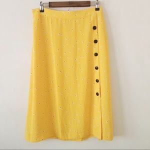 BP Floral Side Button Midi Skirt in Yellow